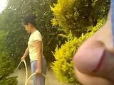 Dick Flash On Neighbor Wife In Garden