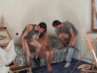 Old nude granny and teen boys threesome