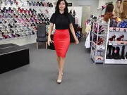 Sexy Lady in Tight Red Skirt and High Heels