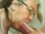 Hot granny with glasses suck cock and get facial