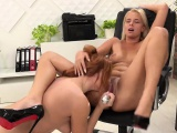 Hot blonde enjoys lesbian piss drinking with her maid