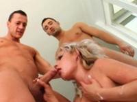 Beatrix in group blowbang facial cumshot scene on Cum For
