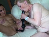 Blonde Granny Uses Huge Dildo