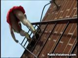 Blonde amateur fucked on the roof