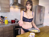 Cooking lesson with busty MILF stepmom turns into fuck