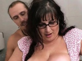 Plump chick rides strangers dick in the restroom