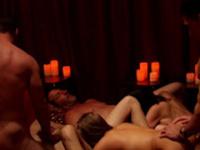 Interracial orgy gets too hot