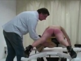 Naughty Blonde Caned Until Raw