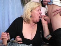 Busty granny in pantyhose takes double penetration