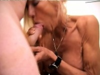 Stacked blonde granny in black stockings loves to take it up her ass