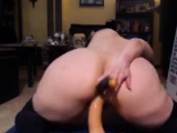 bbw mom rides a fat dildo on her wet and dripping pussy