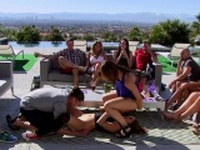 Group of swingers enjoying nasty games and oral action