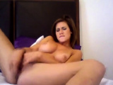 Busty amateur brunette babe toying her wet pussy
