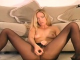 Hawt minx in sexy pantyhose feels severe vagina itching