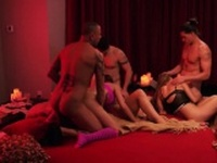 Hardcore swingers orgy with brunette MILF and her boyfriend