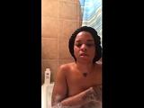 Horny ebony chick masturbate in the shower