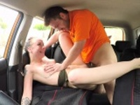 Fake Driving School Cum covered pussy for gamer minx
