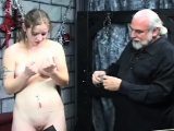 Bare woman servitude at home with horny man