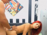Cute Redhead Teen Fucked Doggystyle on the Hump Bus