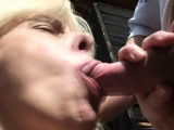 Stranger fucks busty blonde granny in the public change room