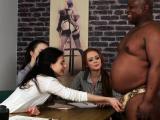 Dickjerking femdom babes dominate dick