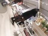 Candid Milf in black pantyhose shoping