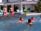 Chicken fight in the pool turns orgy