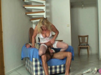 My wifes mother in white lingerie enjoys sucking and riding