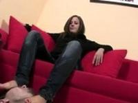 Fetish femdom feet get cumshot