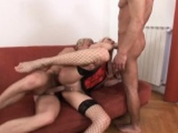 Uninhibited blonde loves getting spit roasted while wearing fishnets