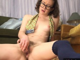 Hairy amateur pussy squirts while toyed