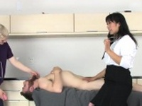 Teens ride fellas asshole with enormous strap-ons and74sWD