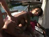 Nasty tattooed slut Bonnie Rotten double penetrated outdoors