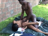 Outdoor banging with a horny black couple