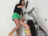 Frisky teenies drill the biggest strap-on dildos and 28OEs