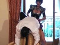 Kinky dominatrix-bitch foot bonks ass