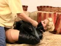 Leggy blonde babe weird nylon pussy fetish