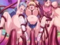 Pregnant anime cutie caught and gangbanged by tentacles