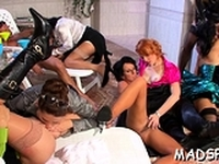 Lascivious sex party full of attractive babes