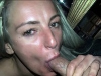 german blonde girlfriend gives public blowjob and swallow