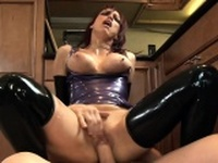 Fucking in shiny latex lingerie and highheels
