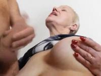 Cum on grannys boobs