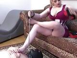 Chastity Slave Worships Femdom Mistress Heels and Feet