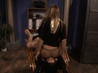 Restrained sub gets queened and pussytoyed