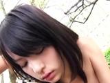 Cheerful oriental Mikako Abe enjoys undressing