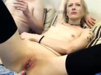 Hot Blonde in white stockings on webcam
