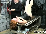 Voluptuous maid fucks her cuchy with a rubber love rocket