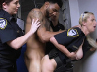 Officer Green holds suspect as he drills perverted milf cops