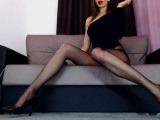 Gorgeous lady in sexy tights Smoking fetish POV