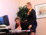 Hawt femdom fetish act with sexy chick spanking dude